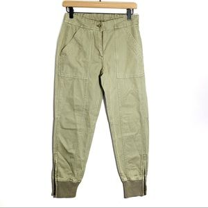J. Crew Ankle Zip Cargo Pants Size 0 Olive Green